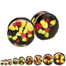 Yellow & Red Agate Hand Blown Pyrex Glass Plugs