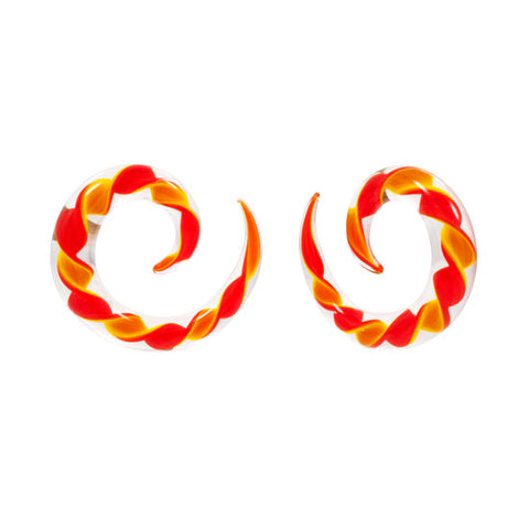 Orange & Yellow Ribbon Pyrex Glass Spiral Talon
