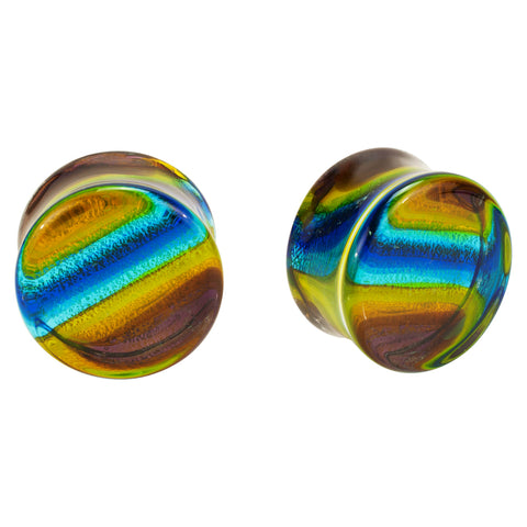 Multi-Color Streak Design Hand Blown Pyrex Glass Plugs
