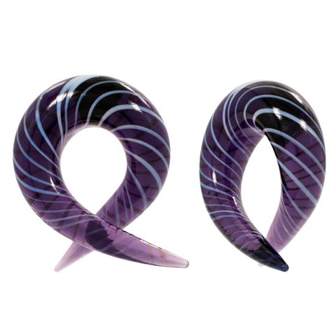 Purple Striped Pyrex Glass Curved Piercing Plug