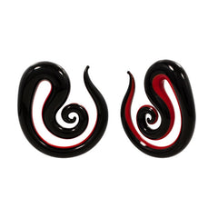 Red And Black Pyrex Glass Spiral Piercing Plug