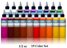 Basic 1/2oz Color Set - Intenze Tattoo Ink - 19 Bottles