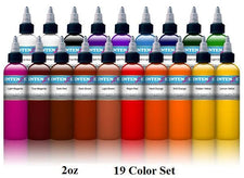 Basic 2oz Color Set - Intenze Tattoo Ink - 19 Bottles