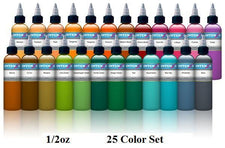 New 1/2oz Color Set - Intenze Tattoo Ink - 25 Bottles
