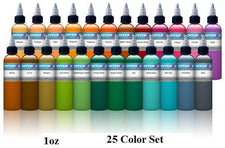 New 1oz Color Set - Intenze Tattoo Ink - 25 Bottles