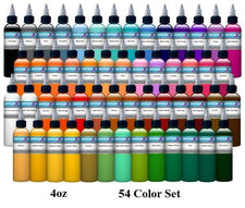 54 Color Set - Intenze Tattoo Ink - 4oz Bottles