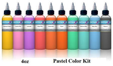 Pastel 4oz Color Set - Intenze Tattoo Ink - 10 Bottles