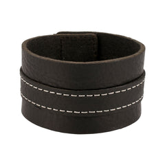 Distressed Black Italian Leather Cuff Bracelet