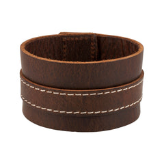 Distressed Brown Italian Leather Cuff Bracelet