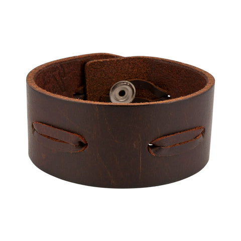 Brown Vintage Laced Italian Leather Cuff Bracelet