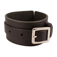 Buckle Cuff Black Leather Bracelet Wholesale