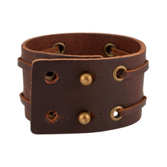 Double Laced Weathered Brown Leather Cuff Bracelet