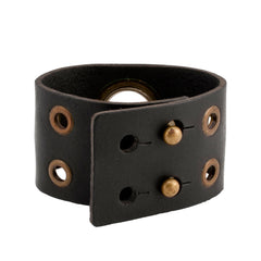 Large Grommett Distressed Black Leather Cuff Bracelet