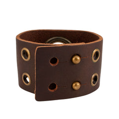 Large Grommett Distressed Brown Leather Cuff Bracelet