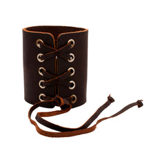 Rocker Laced Brown Top Grain Leather Cuff Bracelet
