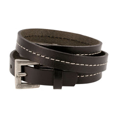 Black Triple Wrap Belt Buckle Stitched Leather Bracelet