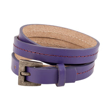 Purple Triple Wrap Belt Buckle Stitched Leather Bracelet