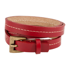 Red Triple Wrap Belt Buckle Stitched Leather Bracelet