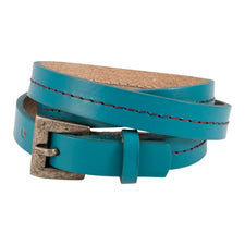 Teal Triple Wrap Belt Buckle Stitched Leather Bracelet