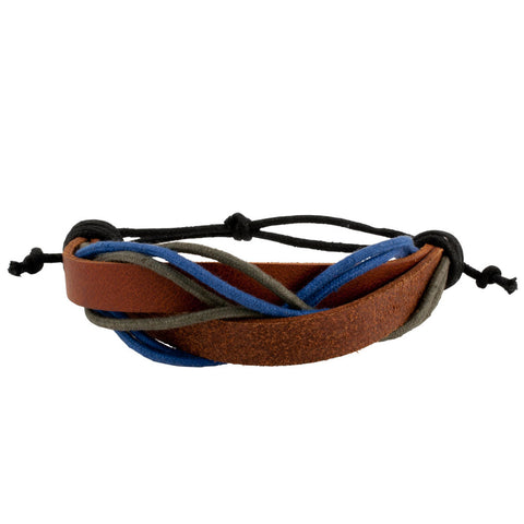 Multi-Colored Woven Tie-Close Leather and Cord Bracelet