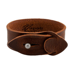 Brown Distressed Leather Slit Closure Bracelet