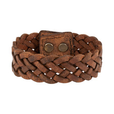 Brown Braided Wide Leather Double Snap Bracelet