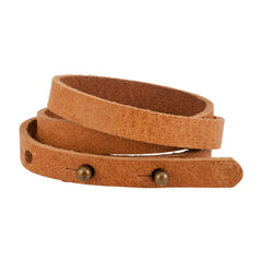 Brown Triple Wrap Thin Slit Closure Leather Bracelet