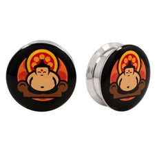 Stainless Steel Logo Stash Ear Plugs - Retro Buddha