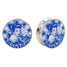 Stainless Steel Logo Stash Ear Plugs - Geisha
