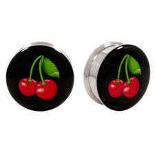 Stainless Steel Logo Stash Ear Plugs - Cherries