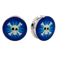 Stainless Steel Logo Stash Ear Plugs - Funky Skull