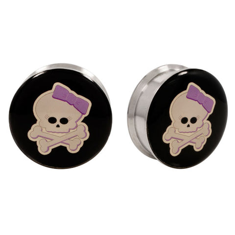 Stainless Steel Logo Stash Ear Plugs - Girly Skull
