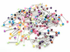 Lot of  20 | Generic |Acrylic Ball Tongue Barbells | Assorted Colors | 14g - 5/8""
