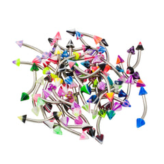 Assorted 50 Pieces 16 gauge UV Curved Eyebrow Barbells SPIKES