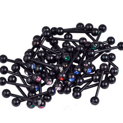 50 Assorted 14G Black Anodized Surgical Steel Tongue Barbells
