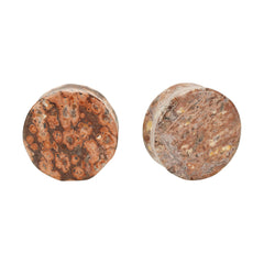 Leopard Jasper Natural Stone Double Flared Plugs Pair