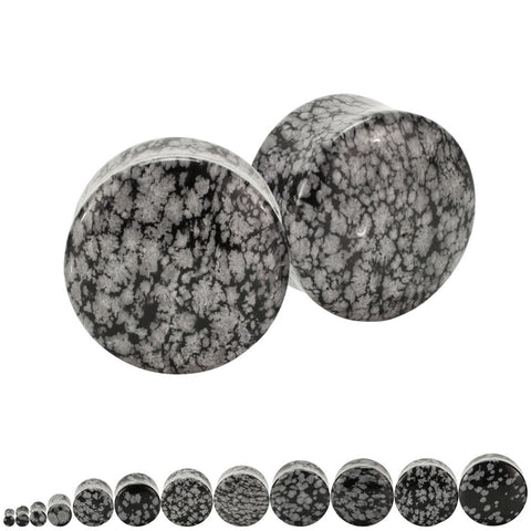 Snowflake Obsidian Stone Organic Ear Plugs Double Flared Saddle Pair