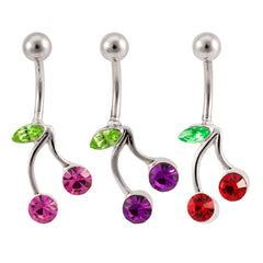 Petite Belly Ring Gem Cherries