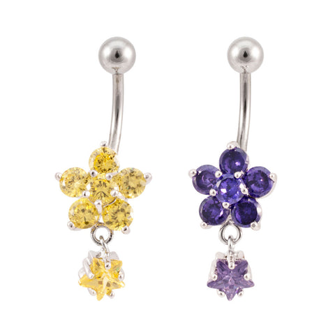 Flower and Star Dangle Navel Ring