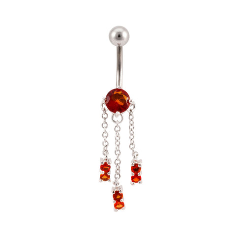 3 Chain Channel Set Dangle Navel Ring