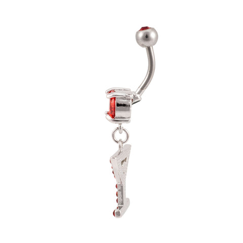 Solitaire Martini Glass & Olive Dangle Belly Ring