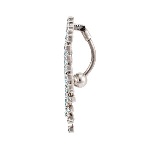 Diamond Design Gem Curtain Hinged Reverse Belly Ring