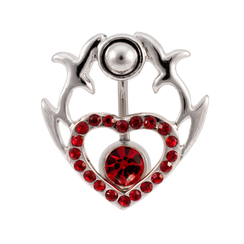 Two Part Tribal Heart Shield  2 in 1 Belly Button Ring
