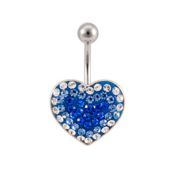 Crystal Ferido Jeweled Heart Navel Belly Ring
