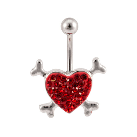 Crystal Ferido Gem Heart Crossbones Navel Belly Ring