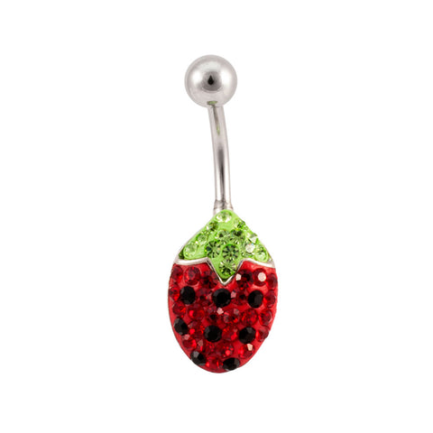 Strawberry Crystal Ferido Jeweled Navel Belly Ring