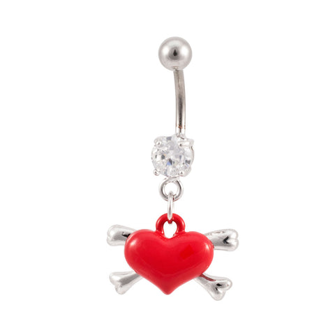 Enamel Heart & Crossbones - Cute Sexy Girly Belly Button Ring