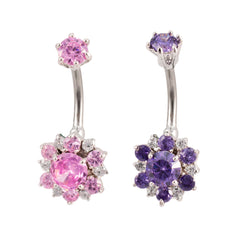 Detailed Multi-jeweled Flower Belly Button Ring