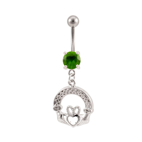 Irish Claddagh Dangling Jeweled Belly Button Ring