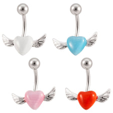 Cats Eye Heart with Wings Belly Button Ring